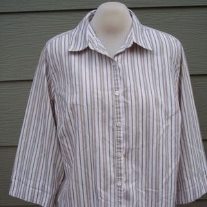 Studio Works 2X Shirt Tan White Striped Button Top